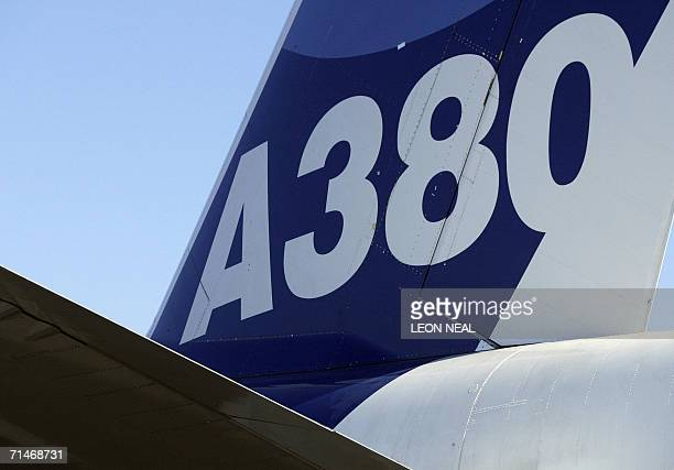 The tail fin of an Airbus A380 airliner is seen 18 July 2006 at the Farnborough Airshow Held every two years the show allows aviation companies from...
