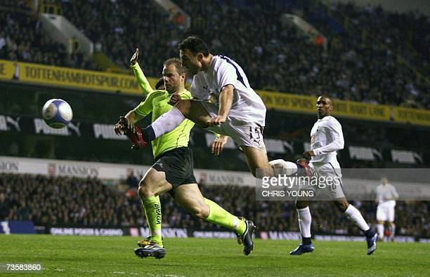 Tottenham's French midfielder Steed Malbranque scores his side's third goal during the UEFA Cup match between Tottenham Hotspur and SC Braga at White...