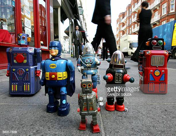 Toy robots which will make up one of the largest collections of toy robots and space toys to appear at auction are seen on Old Brompton Rd London 08...
