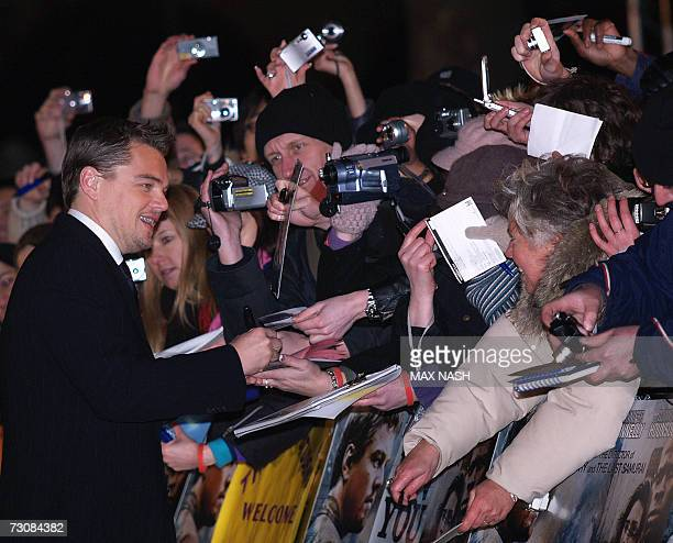 London, UNITED KINGDOM: US actor Leonardo DiCaprio , who has been nominated for Best Actor in a Leading Role for the 2007 Oscars Awards arrives at...