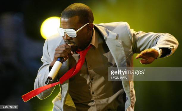 US rapper Kanye West performs on stage at Wembley stadium in north London 01 July 2007 as 60000 revellers join Princes William and Harry for the...