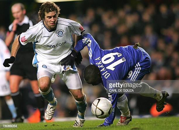 Wycombe's Sergio Torres and Chelsea's Lassana Diarra vie for the ball during their Carling Cup match at Stamford Bridge stadium in west London 23...