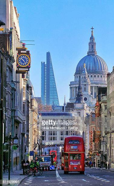 uk, london, urban scene with double-decker bus - double decker bus stock pictures, royalty-free photos & images