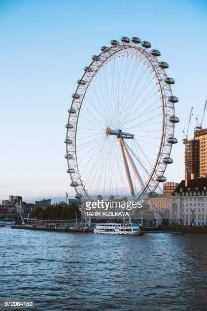 london view as seen across the river thames - london eye stock photos and pictures