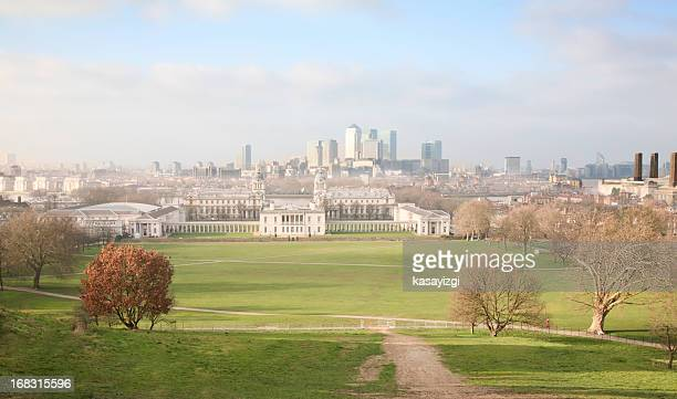 london view from greenwich - north stock pictures, royalty-free photos & images