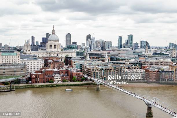 London view of Millennium Bridge and St Paul's Cathedral