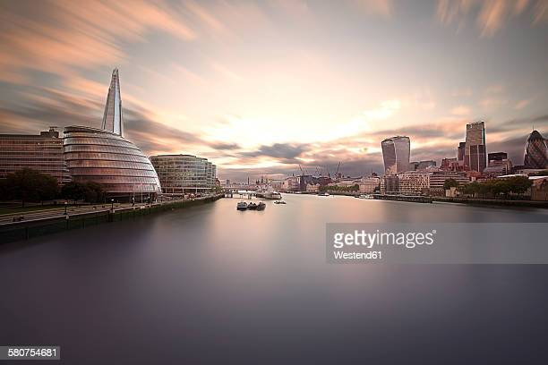 UK, London, view to office buildings at financial districts, long exposure