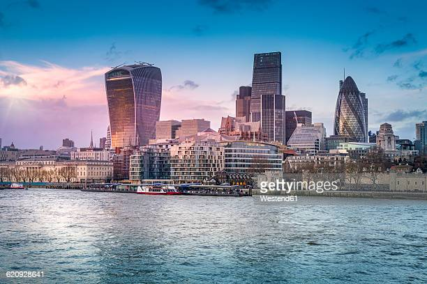 UK, London, view to skyline with Thames River in the foreground