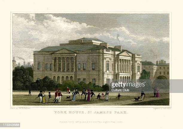 York House St James Park Drawn by Thomas Hosmer Shepherd 1792 – 1864 Engraved by Robert Wallis Published 9th February 1828 Hand coloured