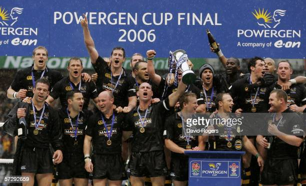 London Wasps celebrate with the Trophy after their victory during the Powergen Cup Final between London Wasps and Llanelli Scarlets at Twickenham on...