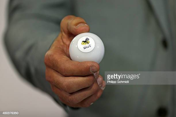 London Wasps is drawn during the pool draw 2014/2015 European Rugby Champions Cup on June 10, 2014 in Neuchatel, Switzerland.