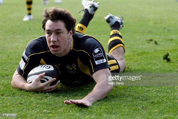 London Wasp's Tom Voyce scores a try during the Guinness Premiership match between London Wasps and London Irish at Adams Park on October 14 2007 in...