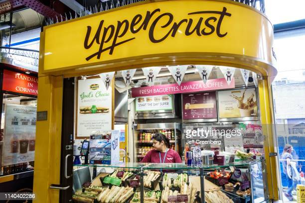 London, Waterloo Station, Upper Crust, sandwich shop, kiosk.