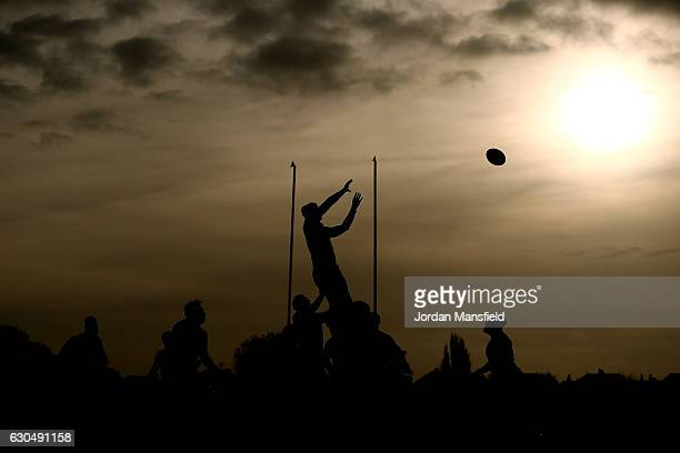 London Welsh and London Scottish compete for a lineout during the Greene King IPA Championship match between London Welsh and London Scottish at Old...