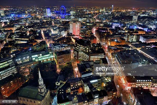 london west-end bird's-eye view at night - ロンドン ソーホー ストックフォトと画像