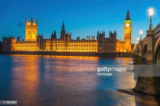 london westminster big ben houses of parliament illuminated uk - whitehall london stock photos and pictures
