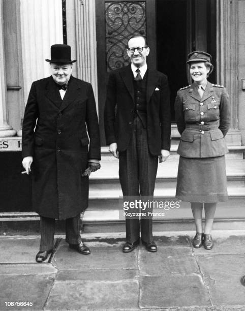 London Winston Churchill At The French Ambassy With Rene Massigli And Junior Commander Mary Churchill In 1945