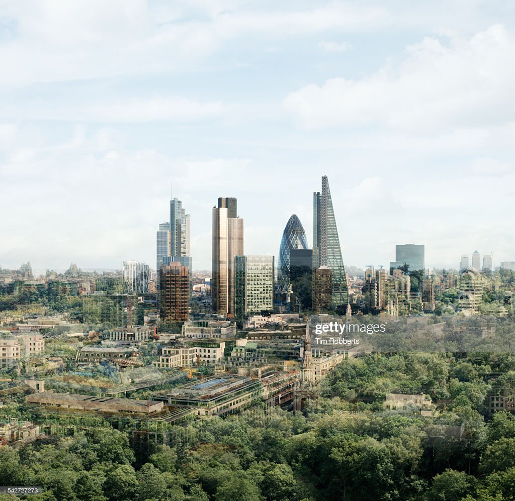London with trees. : Stock Photo