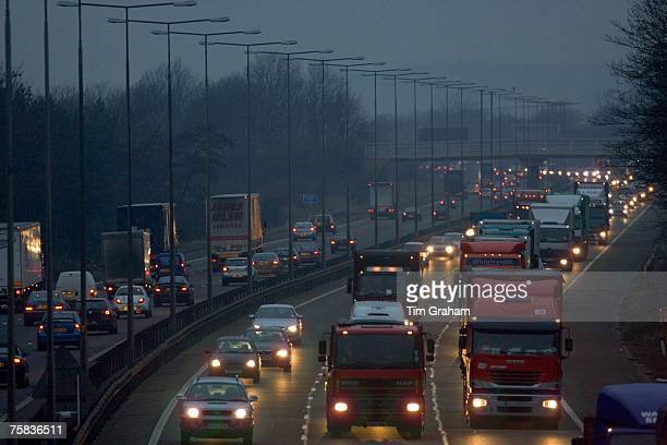 Londonbound traffic on M1 Motorway in Northampton United Kingdom