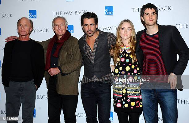 Actor Ed Harris Director Peter Weir Colin Farrell Saoirse Ronan and Jim Sturgess attend 'The Way Back' Photocall at Claridges Hotel on December 08...