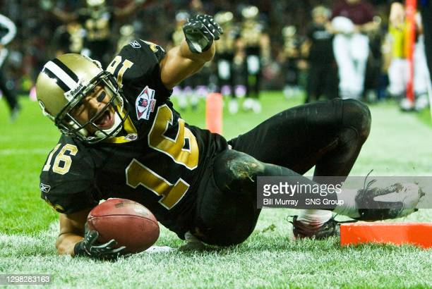 New Orleans Saints' Lance Moore roars with delight after his touchdown........