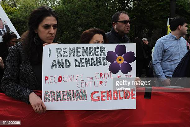 London's Armenian community held a protest outside the Turkish embassy on April 24 2015 in London to mark the centenary of the start of the genocide...
