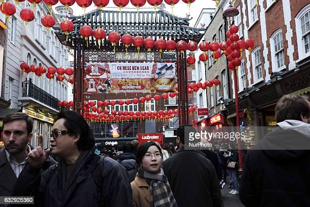 London's Chinatown celebrates New Year in London on January 28 2017 The Lunar New Year marks the start of the Year of the Rooster on January 28...