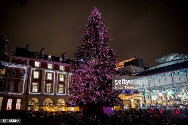 London's largest Christmas tree is revealed during the Covent Garden Christmas Lights Switch On at Covent Garden on November 14 2017 in London England