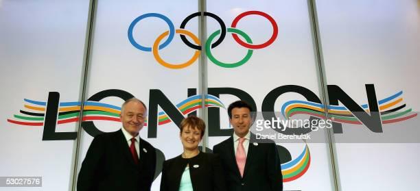 London's Mayor Ken Livingstone Britain's minister for sport Tessa Jowell and Sebastian Coe Head of London's Olympic Committee pose for photographers...