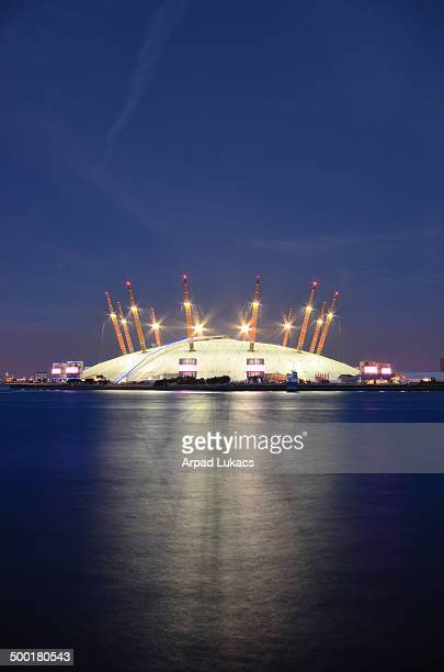 London's Millennium Dome, otherwise known as the O2 Arena captured from London Docklands at night.