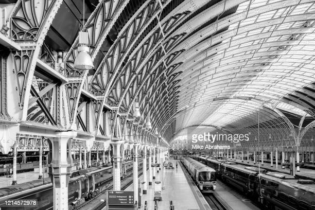 Image has been converted to black and white London's Paddington Station a major rail hub is deserted due to lockdown as a result of the Coronavirus...