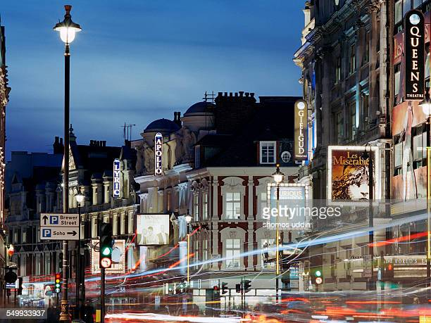 london's shaftesbury avenue at dusk - west end london stock pictures, royalty-free photos & images