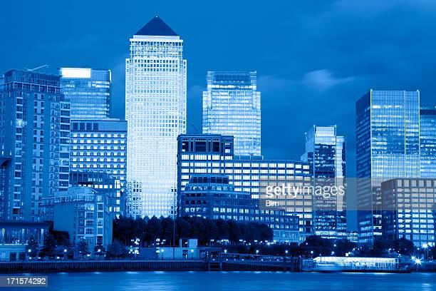 Londons Skyscrapers at Night, Canary Wharf, London, UK