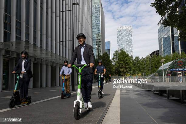 London's walking and Cycling Commissioner Will Norman takes part in a photo-call at the launch of an E-Scooter pilot program on June 07, 2021 in...