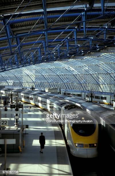 London's Waterloo International station with a Eurostar train waiting at the platform circa 1995 United Kingdom