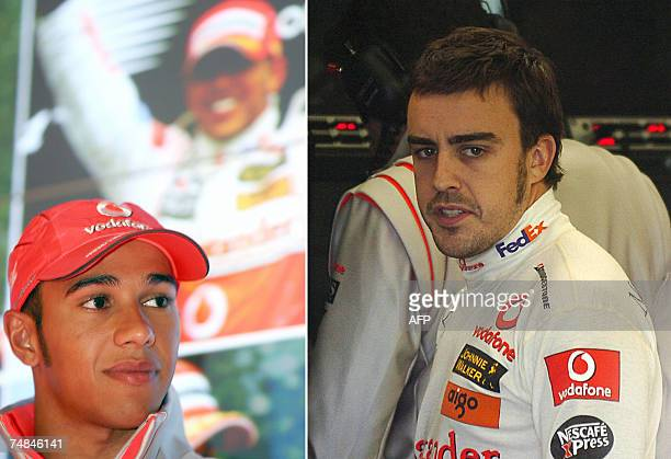 This combo picture made 21 June 2007 shows Formula One McLaren Mercedes drivers British Lewis Hamilton answering journalists questions before taking...