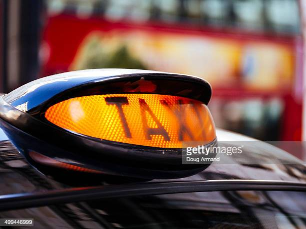 A Londontaxi sign lit up