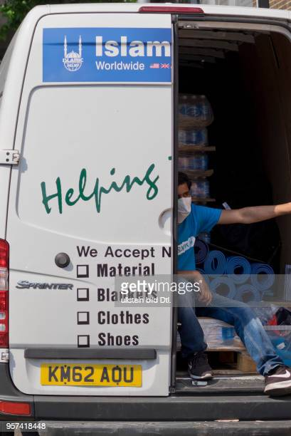 LondonUK 14th June 2017Islamic Relief assistance van outside the Grenfell TowerLondonUK© Julio Etchart/Alamy Live News