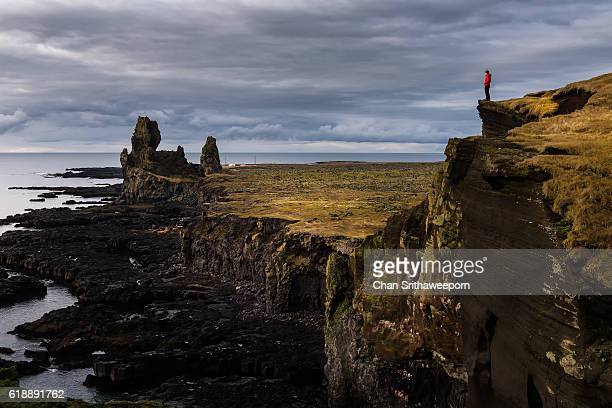 londrangar, snaefellsnes peninsula, west iceland - volcanic rock stock pictures, royalty-free photos & images