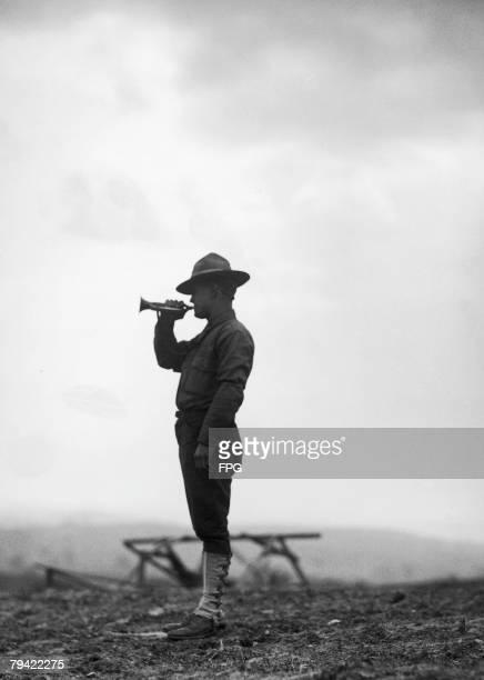 A lone American bugler during World War I circa 1918