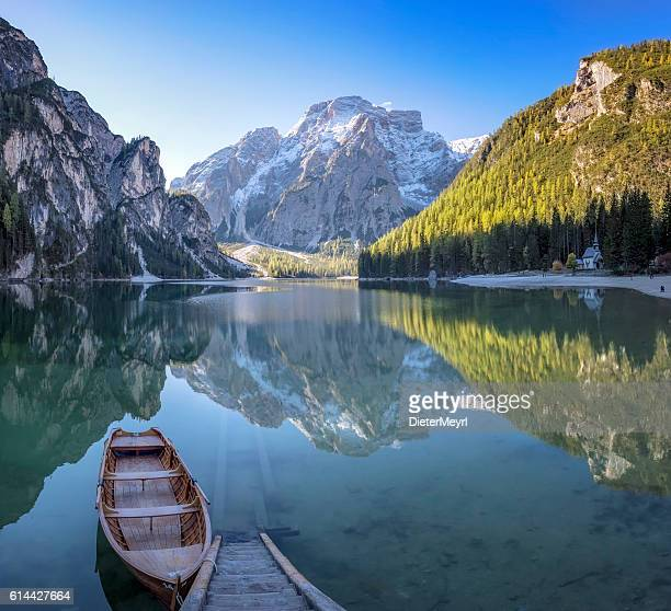 Lone Boat at Sunrise at UNESCO World Heritage Lake Braies