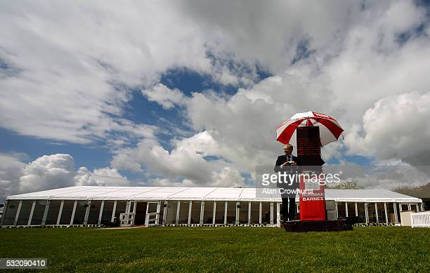 Lone bookmaker Norman Barnes waits for some business at Bath Racecourse on May 18 2016 in Bath England