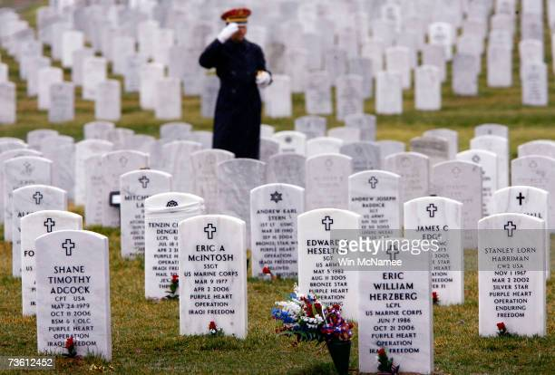 A lone bugler salutes among the tombstones of military pesonnel killed in Iraq in Operation Iraqi Freedom during the funeral of Army Sgt Ashly Moyer...