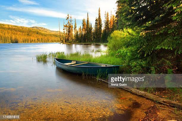 Lone canoe on shores of Upper Payette Lake, Idaho