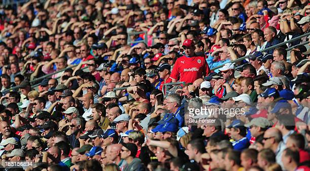 A lone Cardiff red shirt stands up amongst the crowd during the Barclays Premier League match between Cardiff City and Newcastle United at Cardiff...