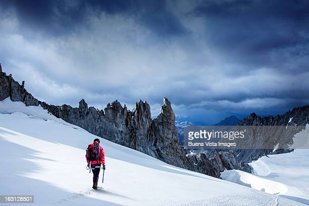 Lone climber on a Glacier in the Mont Blanc