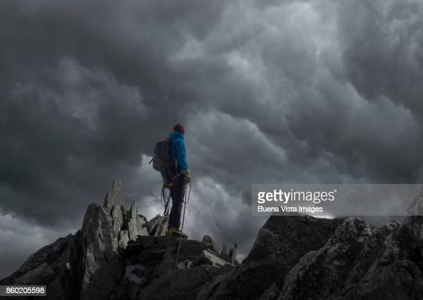 Lone Climber on a mountain ridge