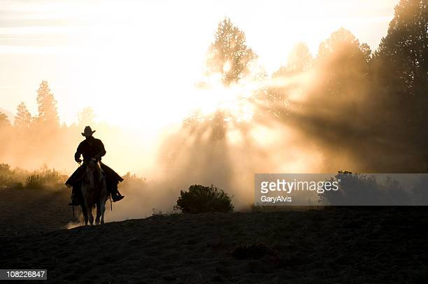 Lone Cowboy on horse Silhouetted by setting sun