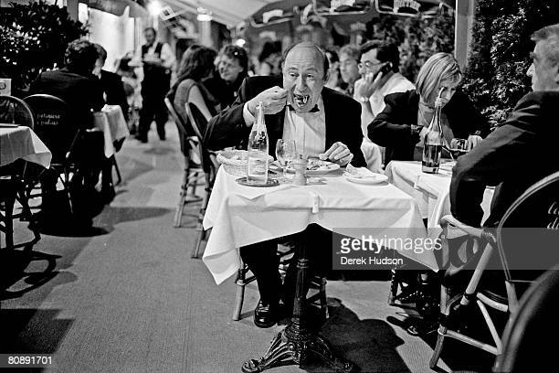 A lone diner in black tie at a restaurant on La Croisette during Cannes Film Festival on May 20 1998 in Cannes France
