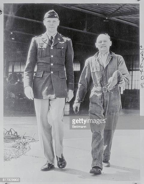 Lone Eagle Back in Harness St Louis Missouri Continuing his tour of inspection for the US Army Air Corps Colonel Charles A Lindbergh is shown for the...